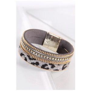 Gray Leopard Faux Fur Rhinestone Magnetic Bracelet